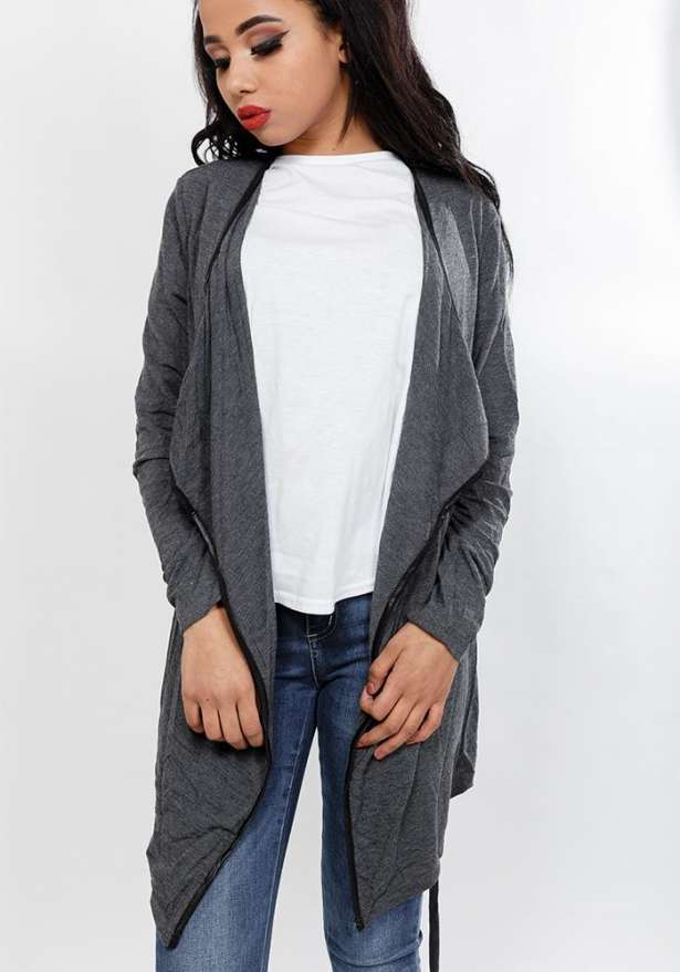 Long Sleeve Cardigan With Front Tie In Grey