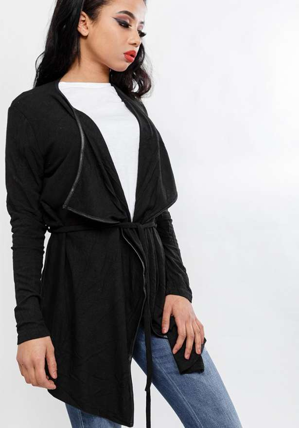 Long Sleeve Cardigan With Front Tie In Black