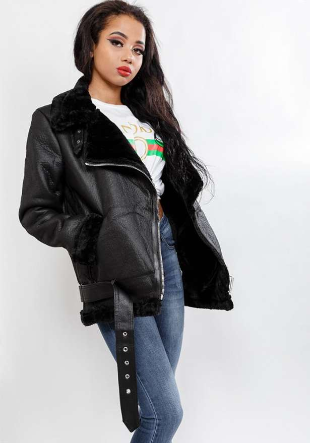 Oversize Faux Leather Jacket In Black