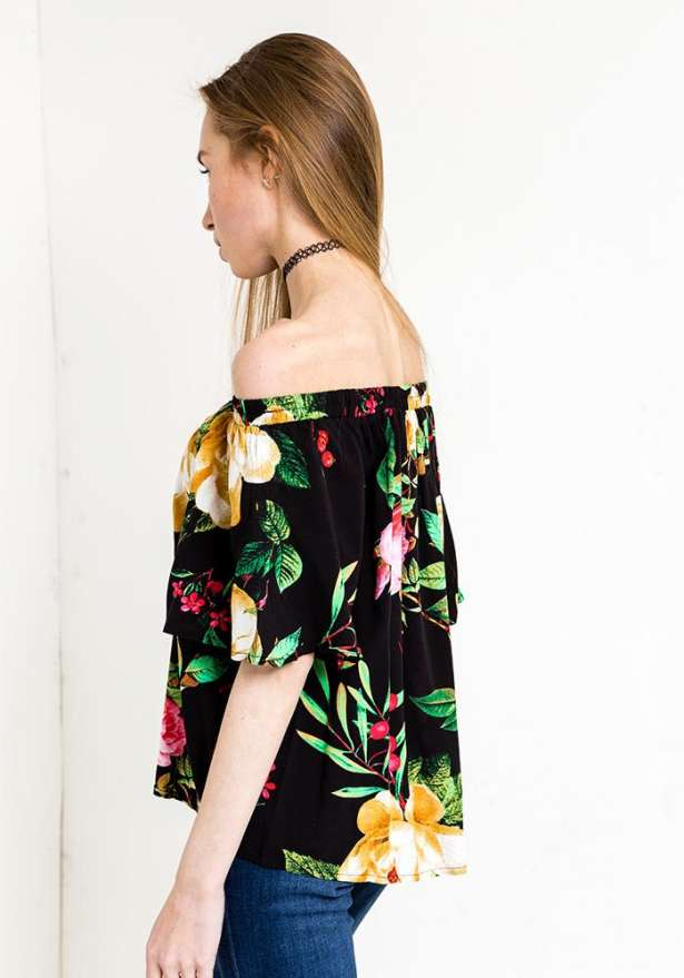 Off Shoulder Floral Blouse In Black