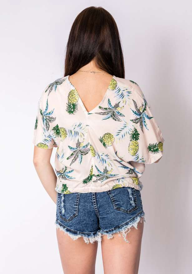 Pineapple V Neck Top In Creamy