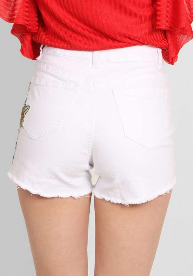 White Rose Embroidered Jeans Shorts