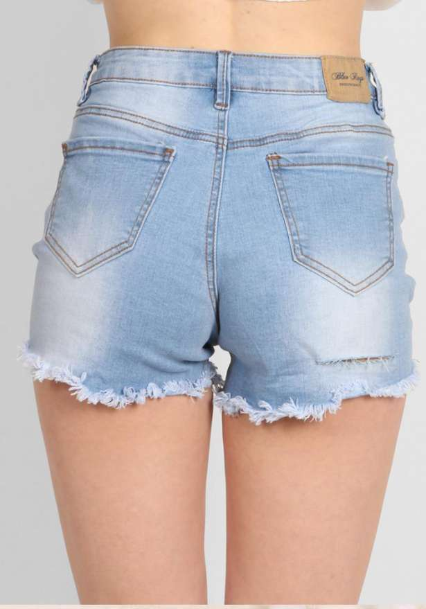 Ripped High Waist Jeans Shorts