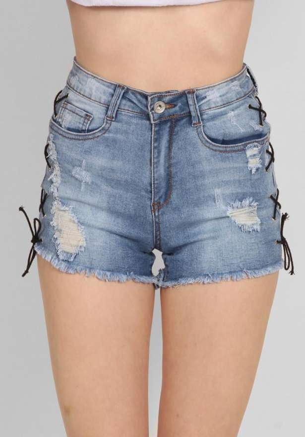Lace-Up High Waist Jeans Shorts