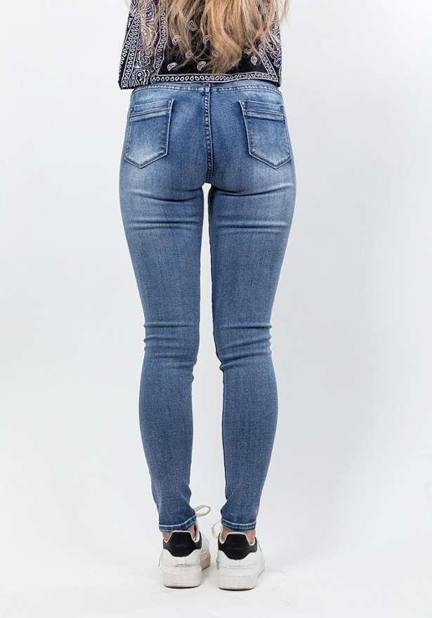 Stone Washed Skinny Jeans In Blue