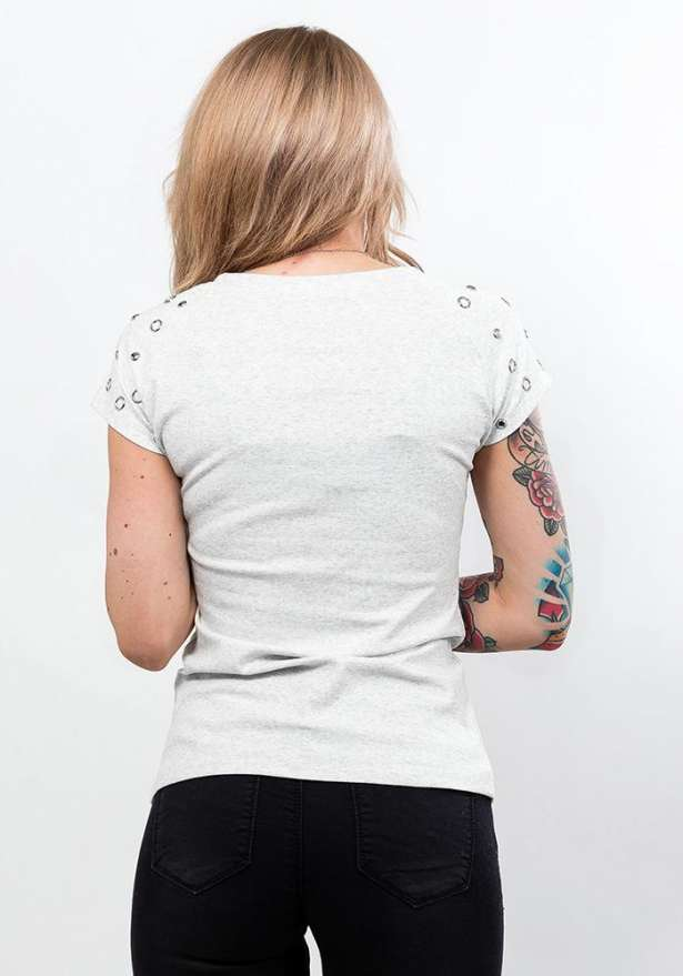 Short Sleeve Tee With Shoulder Detail In White