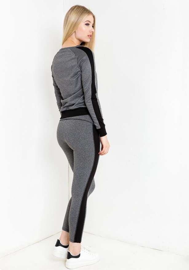 Sporty Tracksuit Set In Grey