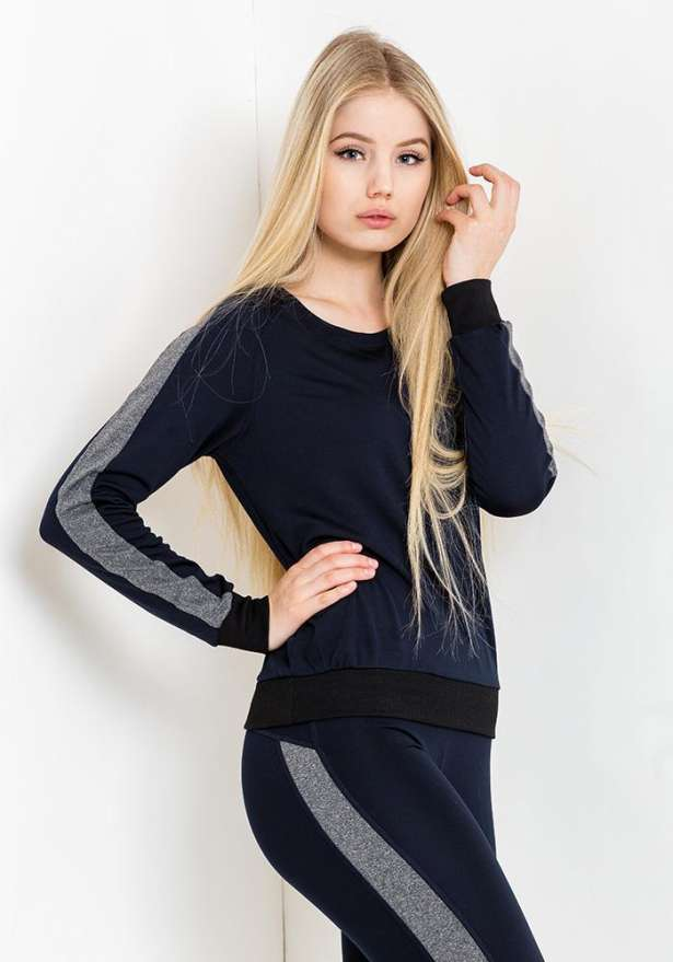 Sporty Tracksuit Set In Navy