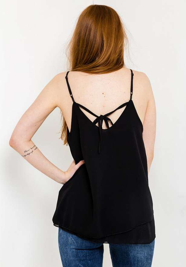 Frill Hem Strap Top In Black