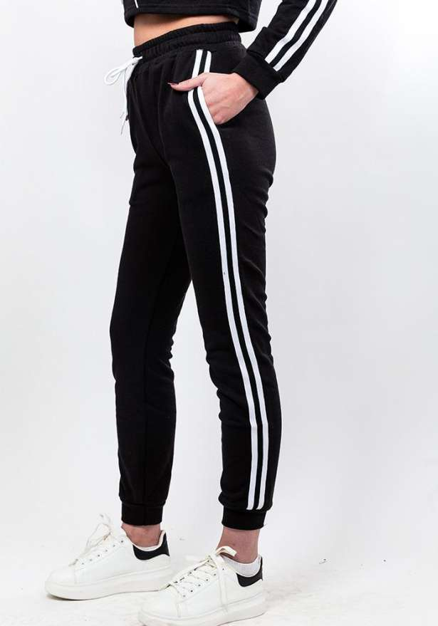 Side Stripe Crop Hoodie With Sweatpants Set In Black