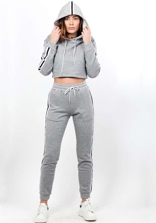 Side Stripe Crop Hoodie With Sweatpants Set In Grey