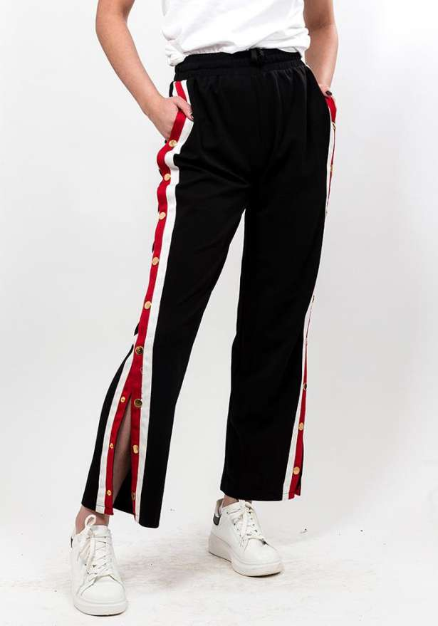 Black Button Up Stripe Pants