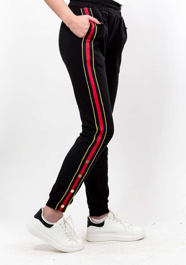 Side Striped Button Detail Pants In Black