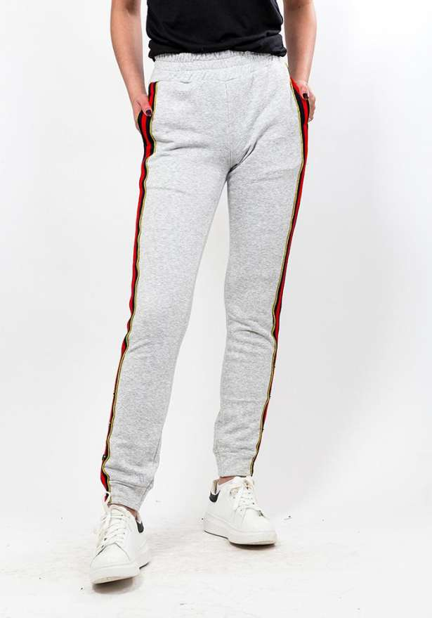 Side Striped Button Detail Pants In Light Grey