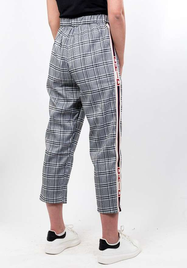 Checkered High Waist Trousers In Grey