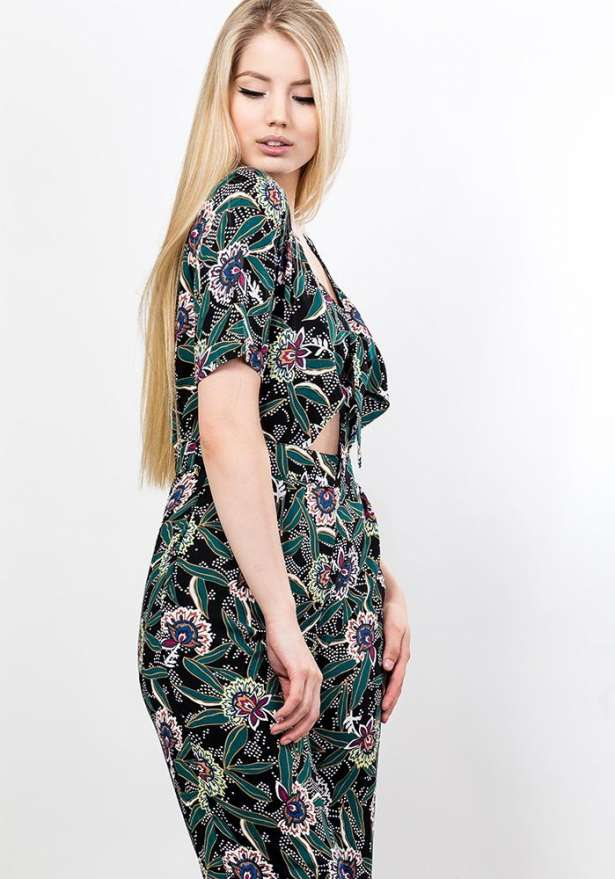 Tie Front Floral Jumpsuit In Green