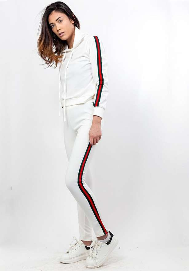 Side Stripe Hooded Tracksuit Set In White