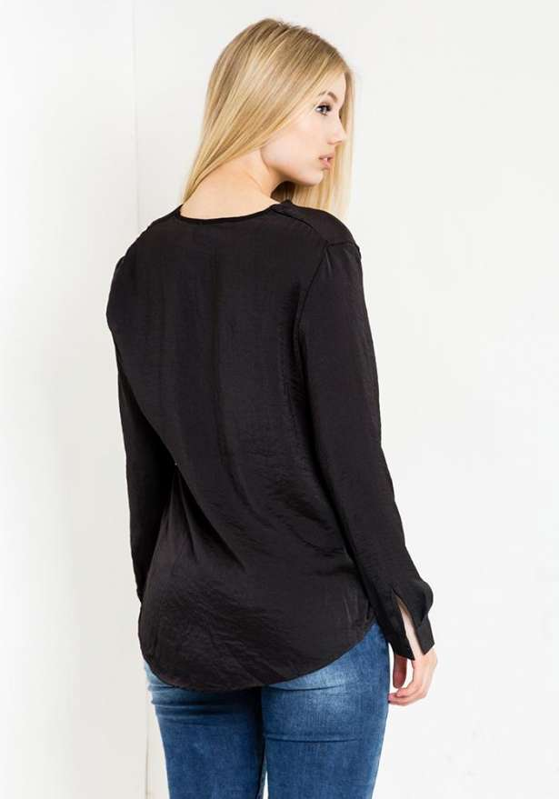 Tunic Top With Front Lace In Black