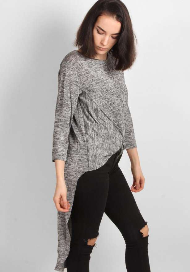 Grey Front Knot High-Low Tunic